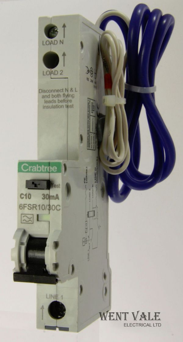 Crabtree Loadstar - 6FSR10/30C - 10a 30mA Type C Single Pole RCBO Unused
